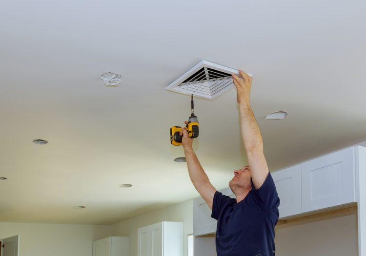 Indoor installing central air conditioning, vents on the wall